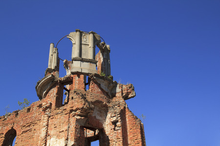 Ancient castle remains with blue sky in Denishi, Ukraine Stock Photo
