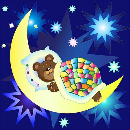 Bear sleeping on the Moon among bright stars against blue sky Vector