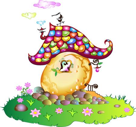 Fairytale candy or treasure house of fairy elf dwarf