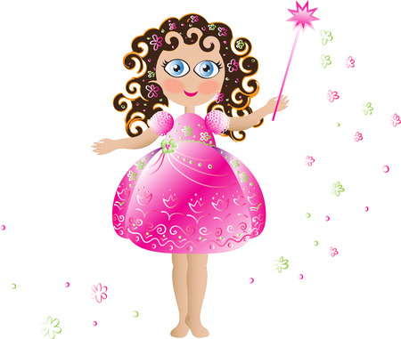 Cute pink flower fairy with pink elegant dress curly hair and magic wand Ilustracja