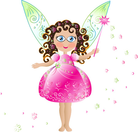 curly hair: Cute pink flower fairy with pink elegant dress curly hair and magic wand and wings