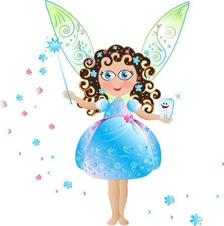 blue tooth: Tooth fairy with wings Illustration