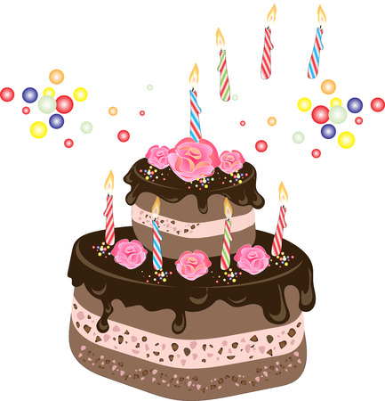 tiers: Chocolate Birthday cake with chocolate frosting, candles, cream rose flowers and colorful sprinkles Illustration