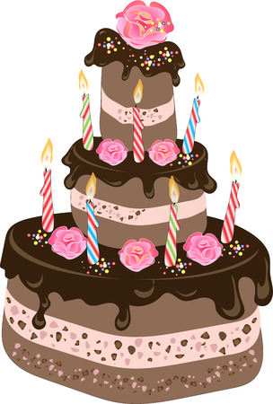 Chocolate Birthday cake with chocolate frosting, candles, cream rose flowers and colorful sprinkles Illustration