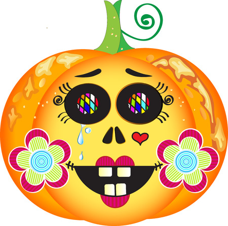 cheeks: Illustration of smiling Halloween pumpkin with colorful eyes, red lips, heart tattoo, tears and cheeks decorated with flowers Illustration