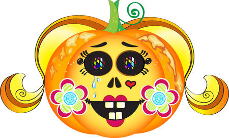 Illustration of smiling Halloween pumpkin with colorful eyes, blond hair, red lips, heart tattoo, tears and cheeks decorated with flowers Illustration
