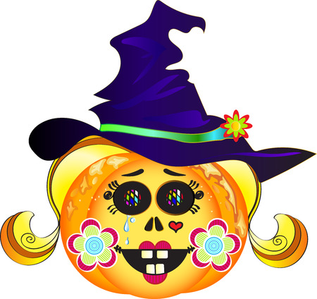 Illustration of smiling Halloween pumpkin with hat, colorful eyes, blond hair, red lips, heart tattoo, tears and cheeks decorated with flowers