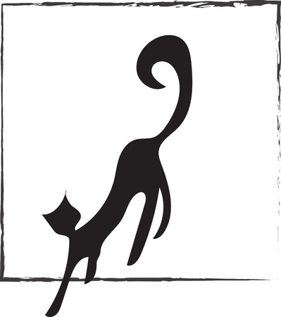 leaving: Logo black cat. Illustration of a black cat leaving the square frame which can be used as a logo Illustration