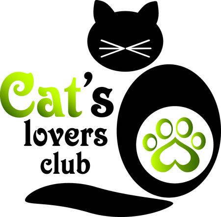 tienda de animales: Logo para los amantes del gato club.Illustration de un gato con los bigotes y trazas de impresi�n con el coraz�n que se pueden utilizar como logotipo del club o de la tienda de animales