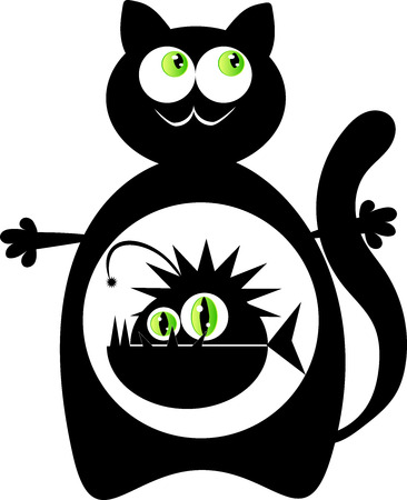 pleased: Cat with monster fish inside. Illustration of a black cat with a monster fish inside stomach