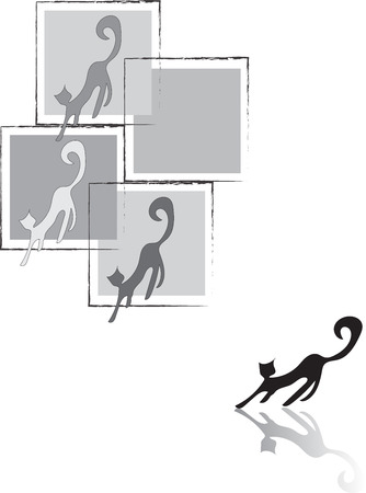 postmodern: Cats in a cage. Illustration of colorful cats leaving square frames or cages