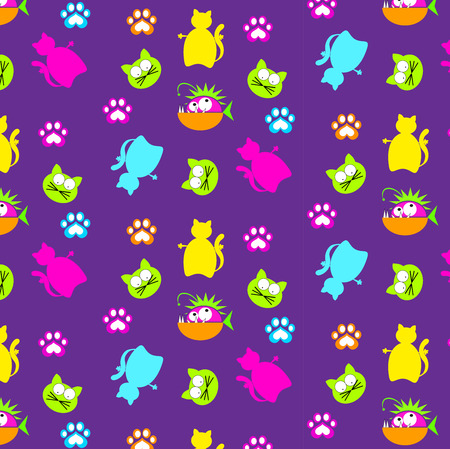 Fun cat and fish pattern with trace print
