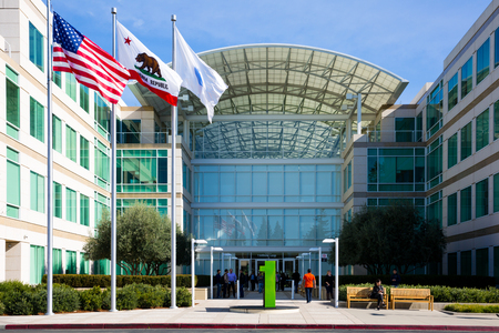 Apple Infinite Loop, Cupertino, California, USA - January 30, 2017: Apple stuff in front of the Apple world headquarters
