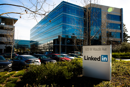 Sannyvale, CA, USA - Feb. 1, 2018: Building of a LinkedIn Corporation office.