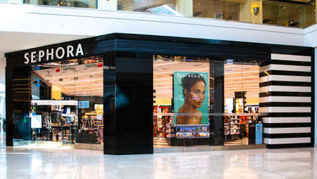 Santa Clara, CA, USA - January 14, 2021: Sephora fashion luxury designer cosmetics and fragrance store in a shopping mall. a French multinational retailer of personal care and beauty products.