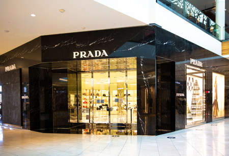 Santa Clara, CA, USA - January 14, 2021: Prada fashion designer store boutique in a shopping mall. An Italian luxury fashion house specializing in leather handbags,  accessories, shoes, ready-to-wear