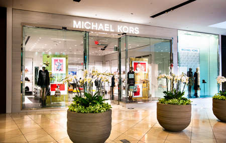 Santa Clara, CA  USA - January 14, 2021: Michael Kors fashion designer store in a shopping mall. A multinational fashion holding company selling apparel, handbags, footwear, watches, accessories