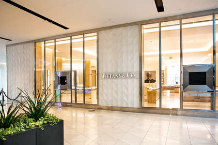 Santa Clara, CA  USA - January 14, 2021:  Tiffany and Co luxury fashion designer store boutique. A luxury fashion house selling clothing, cosmetics, accessories, jewelry, perfumes, based in New York