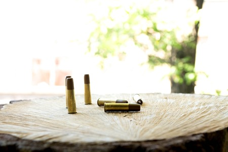 Bullets. Pneumatic bullets. The bullets on the wooden background. Stock Photo