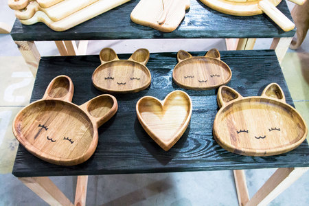 void: Plates, handmade, from, wood., Unique plates Dishes in the shape of animals Plate hare Cat heart