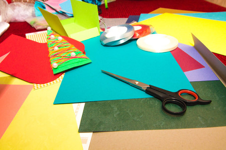 hobie: A set of tools and board for making greeting cards for New Year, Christmas and holidays. Stock Photo