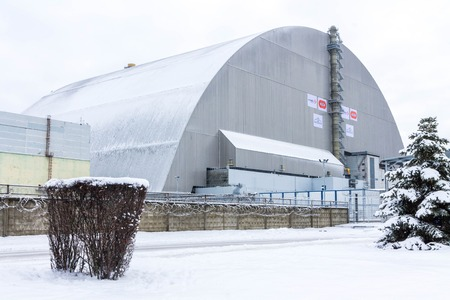 Chernobyl, Ukraine - December 3, 2016. The new sarcophagus over the fourth reactor at the Chernobyl nuclear power plant. Ukraine.