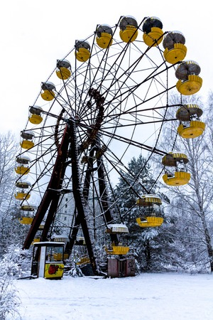Winter view of childrens entertainment attraction in Pripyat. Chernobyl, Ukraine.