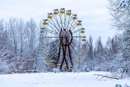 tragedies: Winter view of childrens entertainment attraction in Pripyat. Chernobyl, Ukraine.
