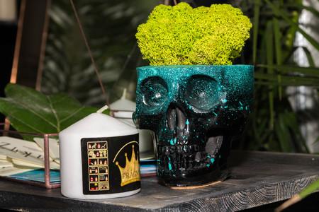 Pot is depicted as a human skull. Flower pot.