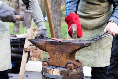 steelmaker: Hammering. Stock Photo