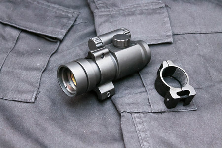 Collimator sight closed type. Military ammunition. Military. Attack.