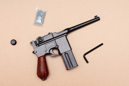 german handgun: Officers pistol. A pistol with a clip. Vintage pistol. Stock Photo