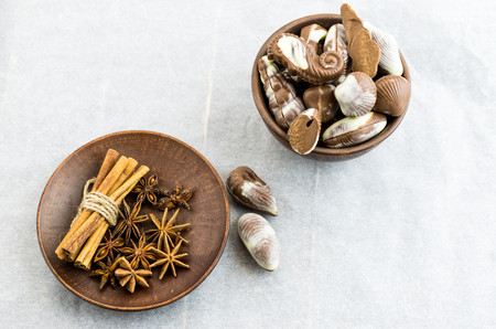 Chocolate with spices and coffee aroma. Stock Photo