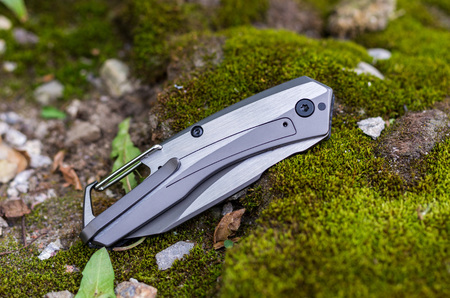 The knife is folded. Knife with an iron handle. Horizontal frame. Photo on the background of moss. Stock Photo