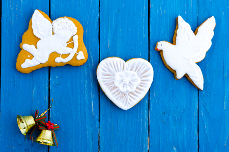 Romantic composition of gingerbread. Flat lay. Valentines Day