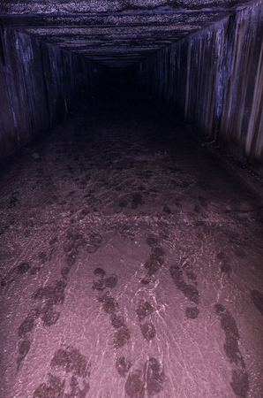 Human footprints are underground. Human footprints in the dungeon. Stock Photo