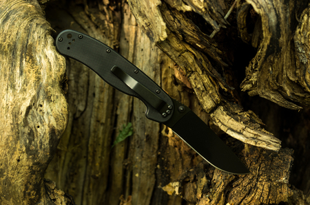 A knife stuck in a tree. Black military knife. Knife in a diagonal position. Stockfoto