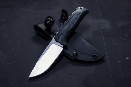 Skinner knife. Skinner with plastic sheath. Isolate.