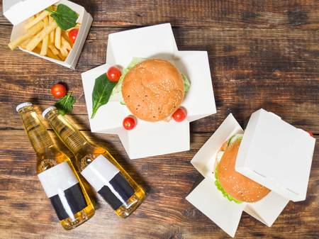 Food for two. Snack for two. Burgers and beer. Top view on burgers. Banco de Imagens - 122265864