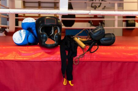 Boxing ammunition in the ring. Boxing atmosphere. Boxing ring and ropes.