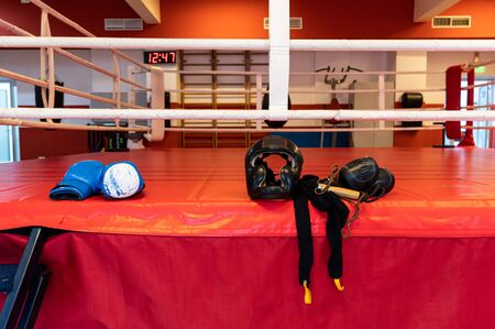 Boxing gym and boxing ring. Boxing attributes. Boxing things in the ring.