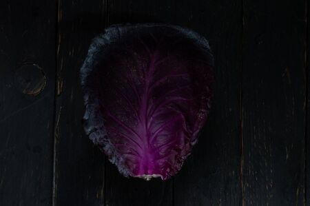 A large leaf of cabbage. Cauliflower texture. The texture of a leaf of cabbage. Top. Reklamní fotografie - 132196103