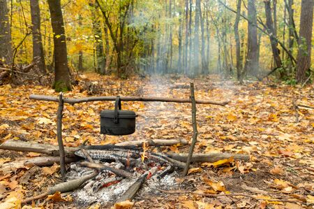Cauldron over a bonfire in the forest. Cooking in a cauldron. Forest cuisine.
