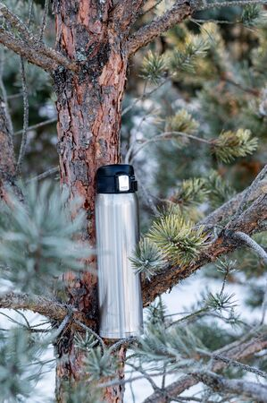 Thermal bottle on a Christmas tree branch. Thermos for drinks. Vertical frame.