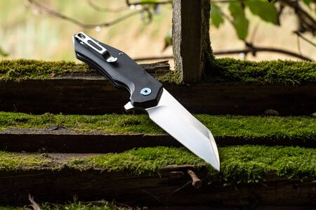 Pocket knife for everyday wear. Knife with a clip on a belt.