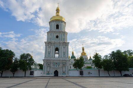 The building of St. Sophia Cathedral in Kv, Ukraine. Sofievskaya Square in Kyiv.
