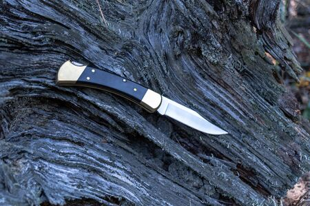 Folding hunting knife. Knife with brass bolsers.