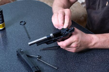 Assembly and disassembly of the gun. Spare parts pistol. Details of the gun. Top.