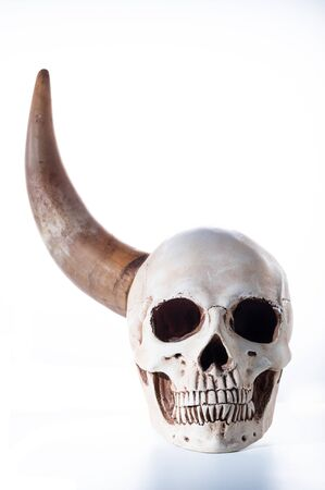 Human skull with one horn. Skull and horn. Front view.