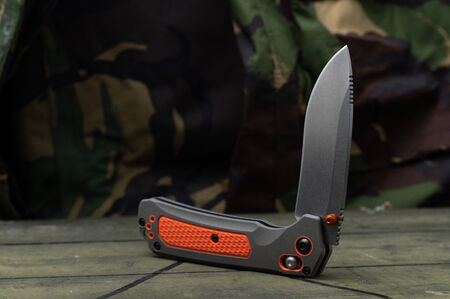 Bushcraft knife with rubberized handle. Knife for extreme situations. Sharp knife. 版權商用圖片
